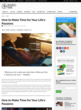 How to Make Time for Your Life's Passions
