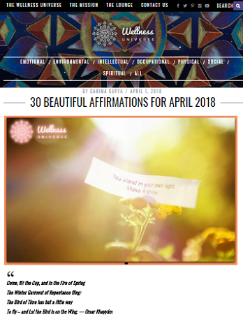 30 BEAUTIFUL AFFIRMATIONS FOR APRIL 2018