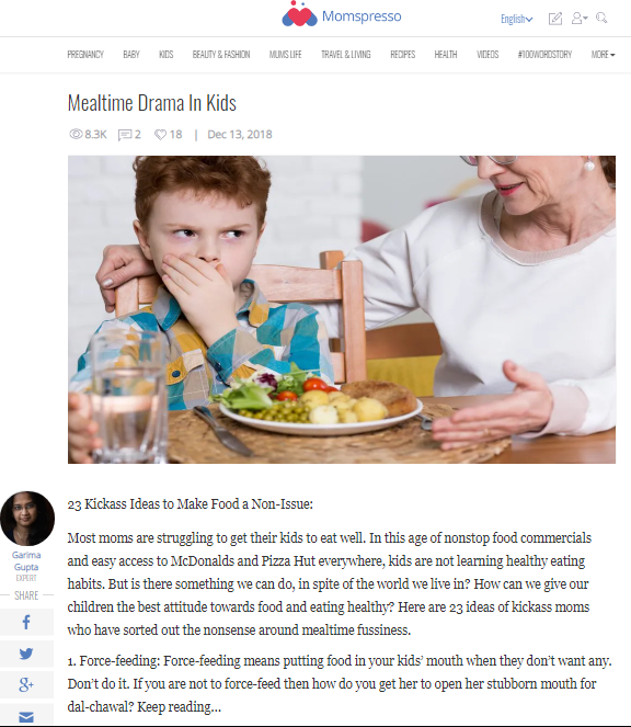 Mealtime Drama In Kids -Expert Article in Momspresso