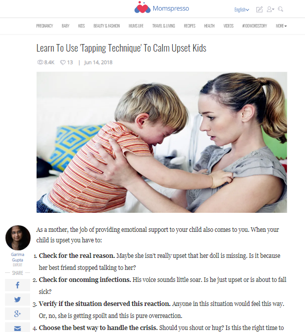 Learn To Use Tapping Technique To Calm Upset Kids -Expert Article in Momspresso