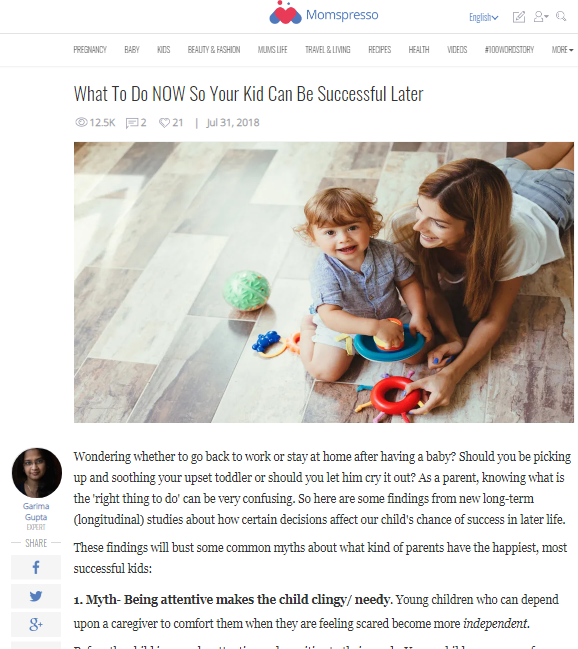 What T Do Now So Your Kid Can Be Successful Later -Expert Article in Momspresso
