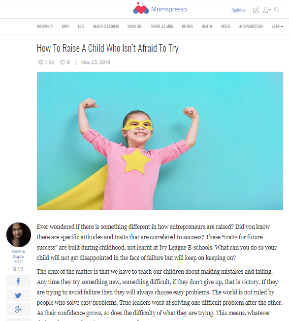 Raise A Child Who Isn't Afraid To Try -Expert Article in Momspresso