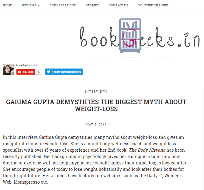 "BookGeeks says ""Garima Gupta demystifies the biggest myth about weight loss"""