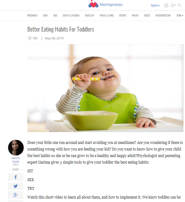 Better Eating Habits For Toddlers -Expert Article